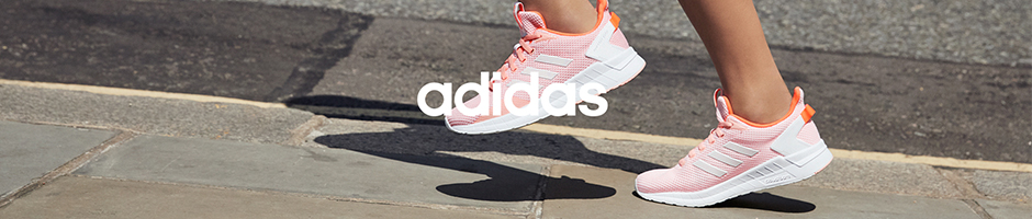 adidas - 4 adidas shoes overlaying grey and white striped background - adidas logo on the top right corner