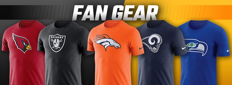 FAN GEAR - 5 west coast   team football tshirts overlaying a black and orange background