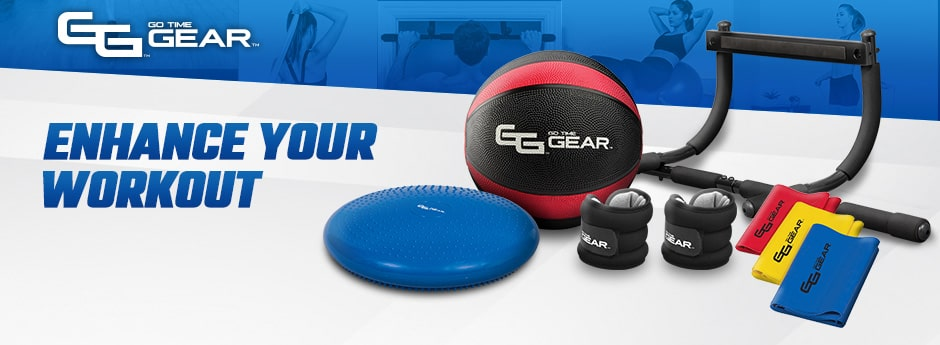 go time gear - enhance your workout - a group of fitness products on a grey table