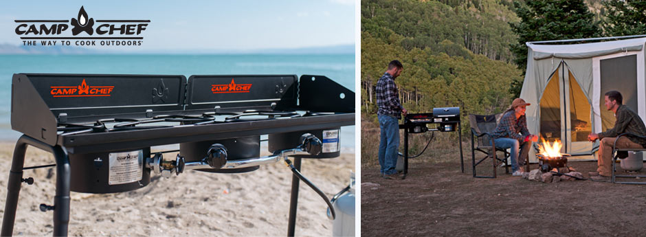 Camp Chef - left image is a camp chef gas cooker on the sand at the beach and on the right an image of a people talking near the campfire and a someone cooking at dusk