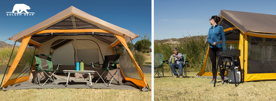 golden bear tent - the image on the left of a large tent with the front rolled up and a pair of chairs and a table and an image on the right with a women cooking looking back at her husband sitting near their tent