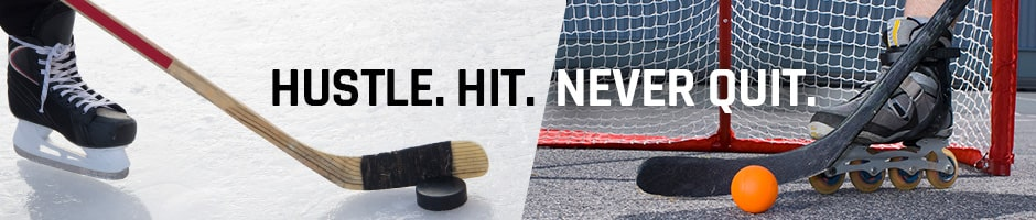 hustle hit never quit - a hockey stick and a hockey puck on ice and hockey stick and a hockey ball on asphault