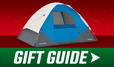 Holiday Gift Guide - a blue and gray tent with with gift guide button at the bottom
