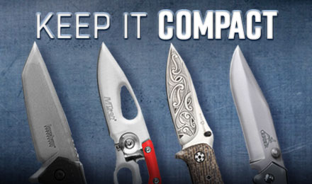 Keep it Compact - an image of 4 different knife blades against a blue background