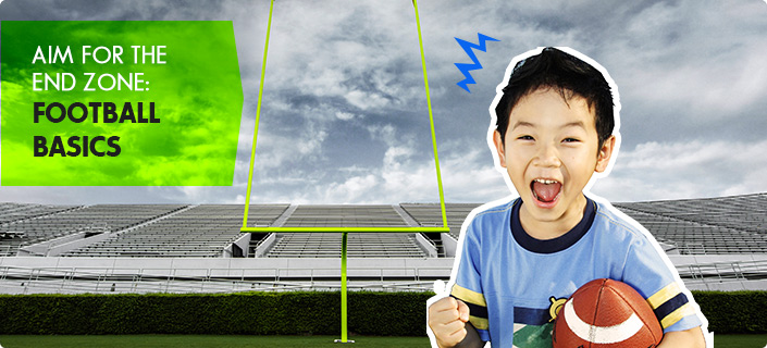 Aim for the End Zone: Football Basics - asain child excited in the foregound and a football field goal in the background